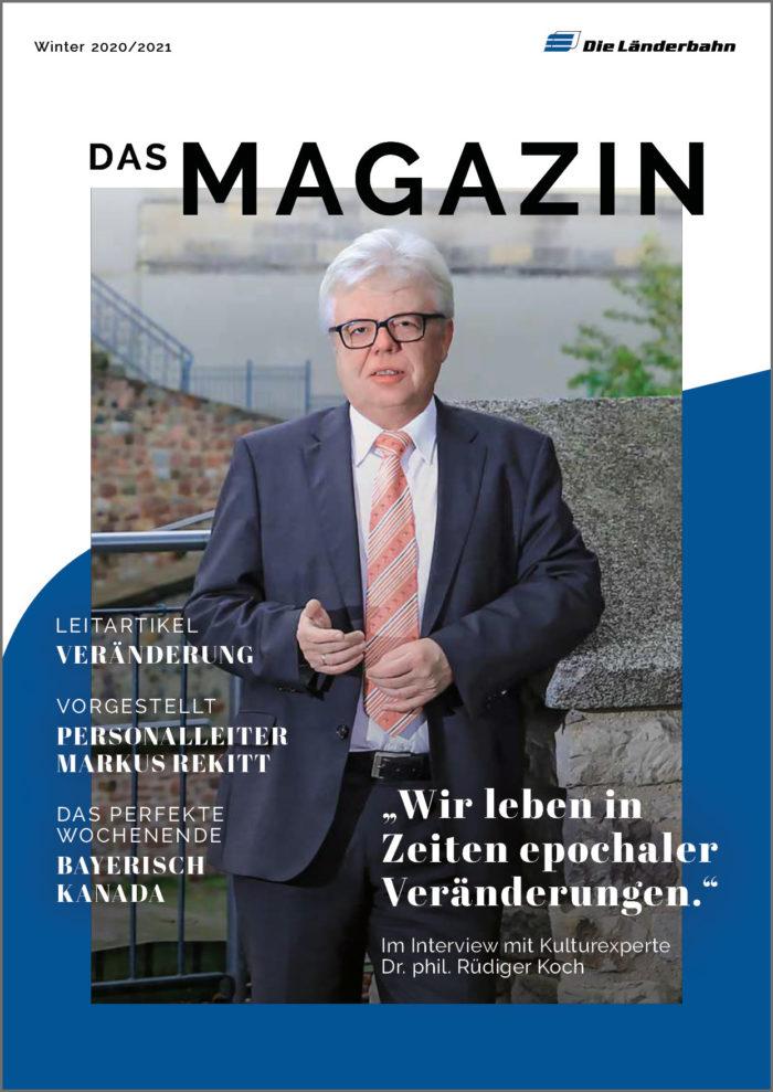 Titelseite des Länderbahn-Kundenmagazins Ausgabe Winter 2020/2021