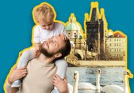 Vater mit Kind auf den Schultern die Familiezeit in Prag verbringen