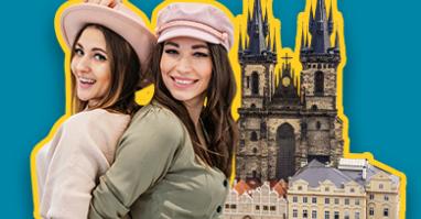Zwei Frauen die Shopping und Lifestyle in Prag erleben