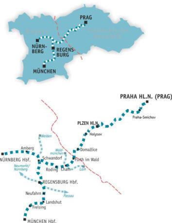 Linienplan des alex nach Prag