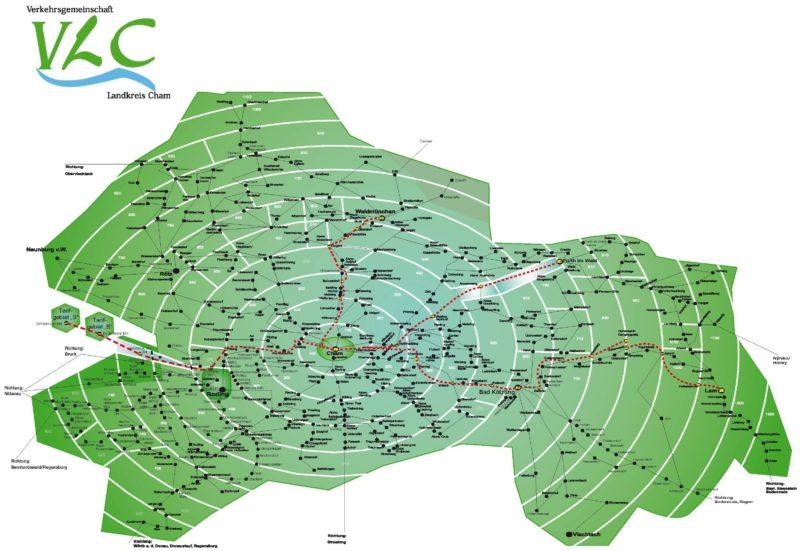 Der Tarifzonenplan der Verkehrsgemeinschaft Landkreis Cham