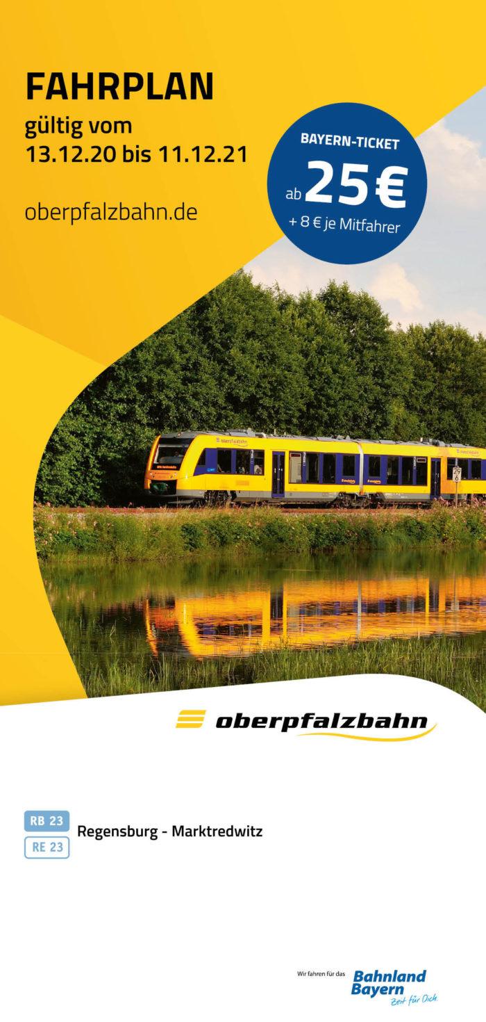 Fahrplan RB23 | RE23 Marktredwitz - Regensburg | gültig 13.12.2020 - 11.12.2021 (Art.-Nr. 34-76312)