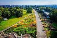 Luftaufnahme großes Blumenbeet im egapark