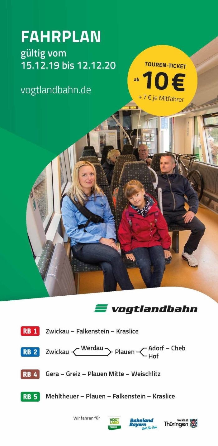 Fahrplanbroschüre Vogtlandbahn | gültig ab 15.12.19
