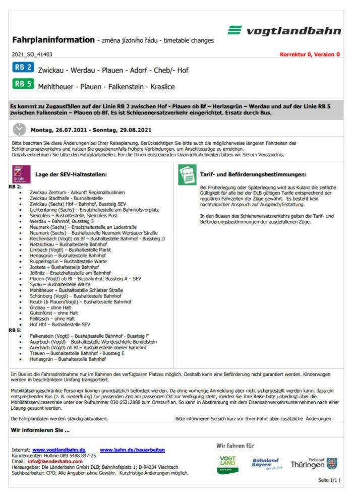 Fahrplan-INFO 89/2021 Vogtlandbahn