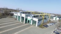 Ansicht des Werkstattgebäudes der Länderbahn am Standort Neumark