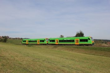 Die waldbahn fährt auf dem Gleis neben einer großen Wiese