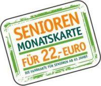 Der Stempel der Senioren-Monatskarte, sie kostet 22€ pro Monat und ist für alle Senioren ab 65 Jahren gültig