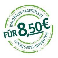 Stempel für das waldbahn-Tagesticket, es kostest 8,50€ pro Tag und ist im gesamten waldbahn-Streckennetz gültig