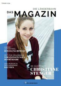 Titelseite des Kundenmagazins der Länderbahn im Frühjahr 2019