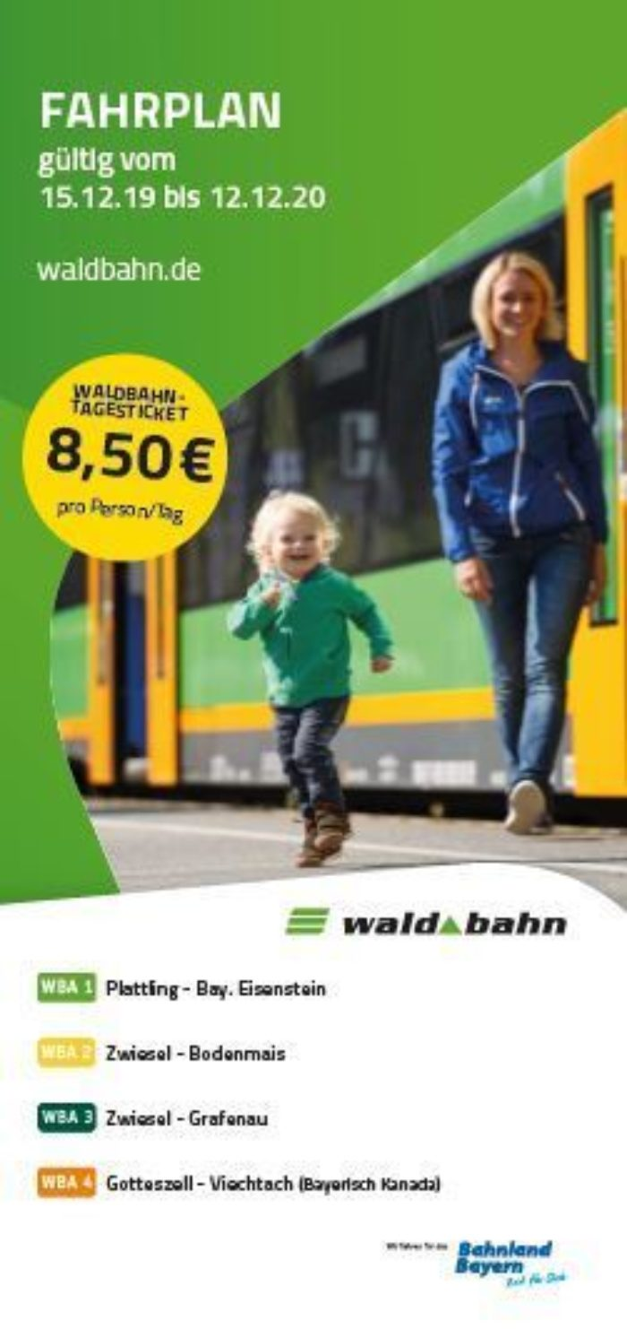 Titelseite des Fahrplans der waldbahn gültig bis 12. Dezember 2020