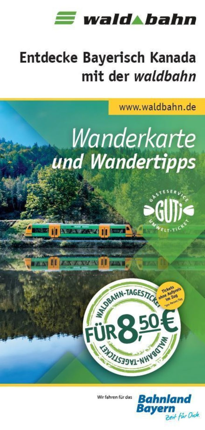 Titelseite der Bahnwanderkarte durch Bayerisch Kanada durch das wildromantische Regental